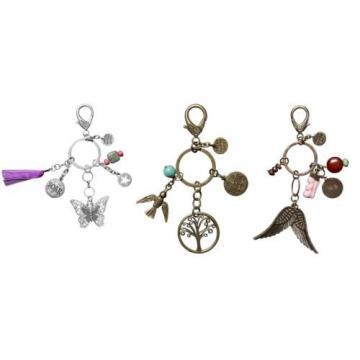 C.R. Gibson Women's Accessories Keychain w/ Charms Butterfly / Tree / Wings HK1