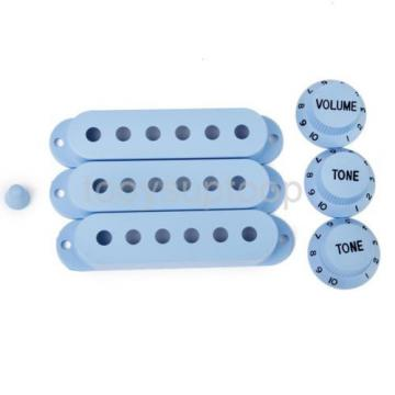 Sky Blue Pickup Covers Volume Tone Knob Switch Tip Set for Strat Guitar
