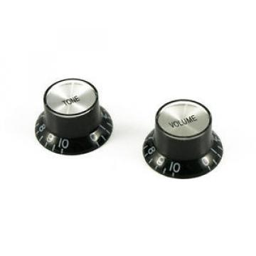 Bell knob set for Gibson - Black/Silver Cap