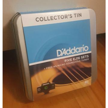 D'Addario EJ16. 5 sets in Collectors Tin + Micro Sound Hole Tuner! Gauge: 12-53
