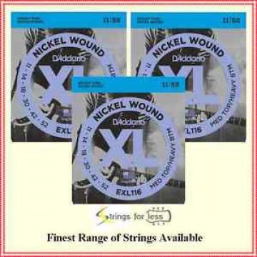 D'Addario EXL116 - 3 Sets Nickel Wound Electric Guitar Strings, 11 - 52  EXL 116