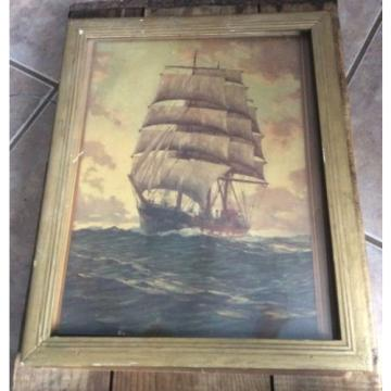 Vintage De Luxe Reproduction Of Eventide Artist Fischer, Boat