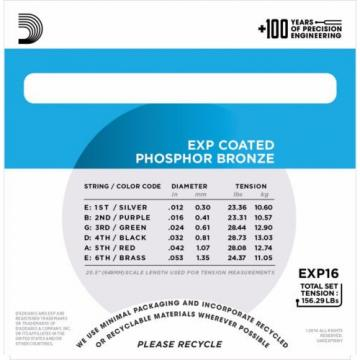 D'Addario EXP16 Phosphor Bronze EXP Coated acoustic guitar strings, Light