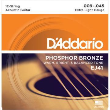 5 Sets D'Addario EJ41 Phosphor Bronze 12 String Acoustic Extra Light 9-45