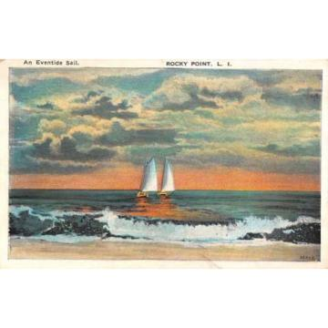 Rocky Point New York Eventide Sail Boat Beach Scene Antique Postcard K40624