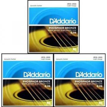 3 Sets D'Addario EJ16 Phosphor Bronze  Light Acoustic Guitar Strings 12 - 53