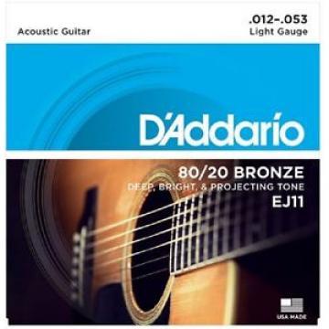 3 Sets D'Addario EJ11 Light Acoustic Guitar Strings 80/20 Bronze 12-53