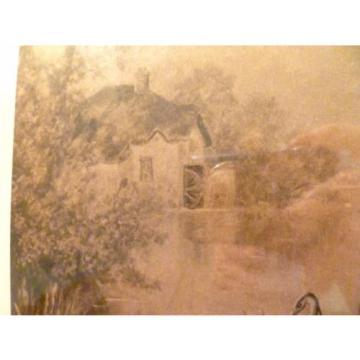 Antique EVENTIDE Mill Pond EGRET Sepia Tone FRAMED PRINT England F.W. HAYES