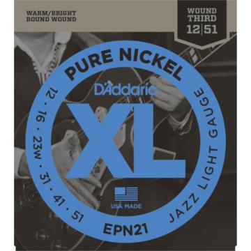 3 Sets D'Addario EPN21 Pure Nickel Jazz Light 12-51 Electric Guitar Strings