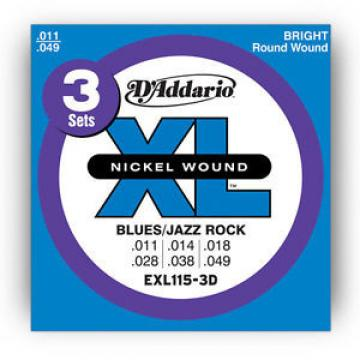 D'ADDARIO EXL115-3D Guitar Strings XL 11-49 3-Pack Jazz
