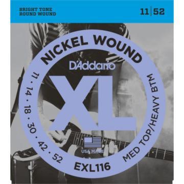 3 Sets D'Addario EXL116 Nickel Wound Med Top Heavy Bottom 11-52 Guitar Strings