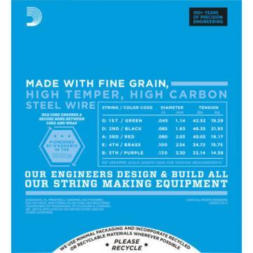 D'Addario EXL170-5 String Regular Light Gauge Electric Bass Strings