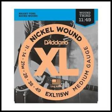D'Addario EXL115W Nickel Blues/Jazz Wound 3rd Electric Guitar Strings  11 - 49