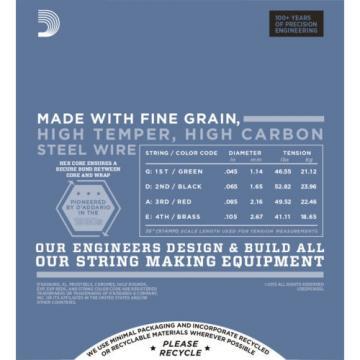 D'Addario EPS165SL ProSteels Bass Guitar Strings, Custom Light, 45-105, Super Lo
