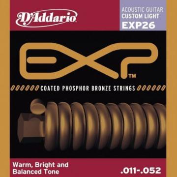 D'Addario EXP26 Phosphor Bronze EXP Coated acoustic guitar strings, Custom Light