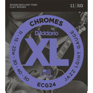 1 Set D'Addario ECG24 Chrome Flat Wound Jazz Light Wound 3rd Guitar Strings