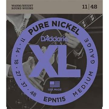 D'Addario EPN115 XL Pure Nickel Round Wound Electric Guitar Strings 11-48