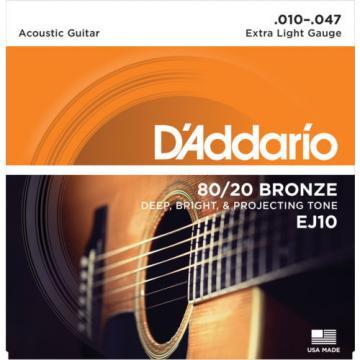5 Sets D'Addario EJ10 80/20 Bronze Acoustic Guitar Strings Extra Light 10-47
