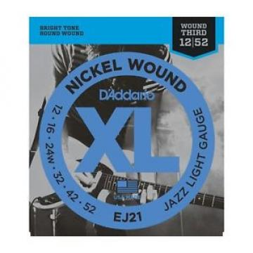 D'ADDARIO EJ21 Nickel 3RD Wound, Jazz Light, 12-52 GUITAR STRINGS  2 PACK