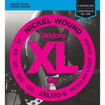 D'addario XL 5 String Electric Bass Strings EXL170-5 Brigh TOne Round Wound