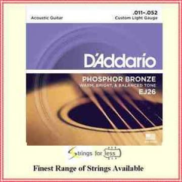 D'addario EJ26 Phosphor Bronze,Custom Light Acoustic Guitar Strings , 11 - 52