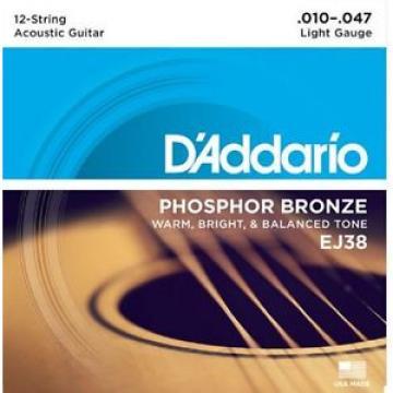 D'Addario EJ38 12-String Phosphor Bronze Light 10-47 Acoustic Guitar Strings