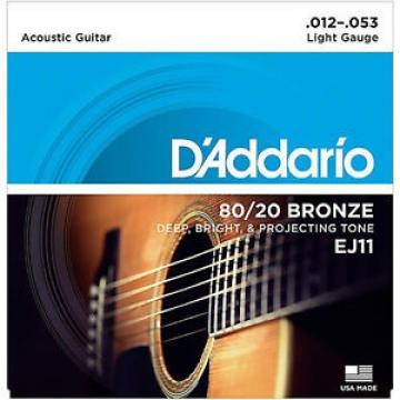 D'Addario EJ11 80/20 Bronze Acoustic Guitar Strings 12-53 lite