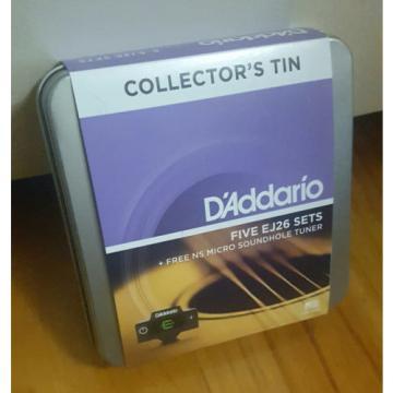 D'Addario EJ26. 5 sets in Collectors Tin + Micro Sound Hole Tuner! Gauge: 11-52
