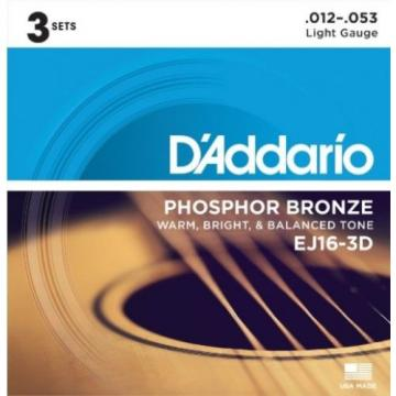 D'Addario EJ16-3D Phosphor Bronze Light (.012-.053) Acoustic Guitar Strings