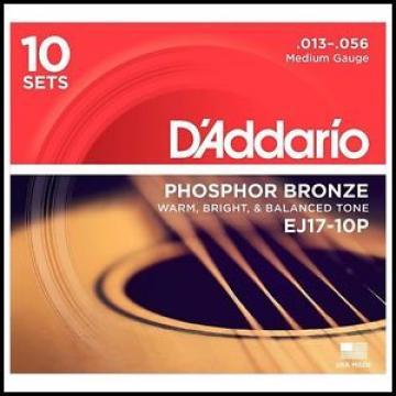 10  Pack D'Addario EJ17 Phosphor Bronze  Medium Acoustic Guitar Strings 13 - 56
