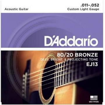 3 Sets D'Addario EJ13 Custom Light Acoustic Guitar Strings 80/20 Bronze 11-52