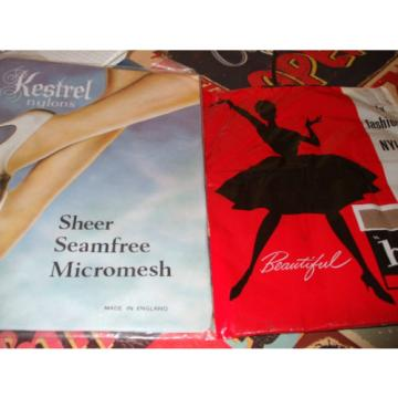 Vintage stockings by kestrel & hi-fi shades eventide & sunny tan size 9 <NEW>