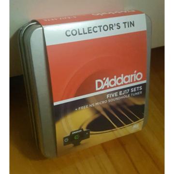 D'Addario EJ17. 5 sets in Collectors Tin + Micro Sound Hole Tuner! Gauge: 13-56