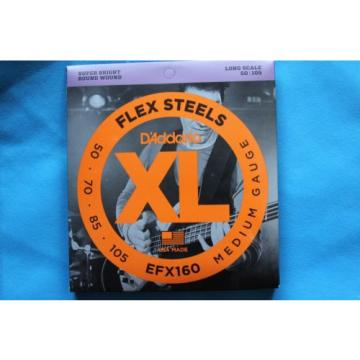 D'Addario EFX160 Flex Steels Medium Gauge Long Scale Bass Strings, CLOSEOUT!
