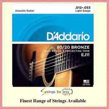 D'addario EJ11 80/20  Bronze Light  Gauge Acoustic Guitar Strings 12 - 53