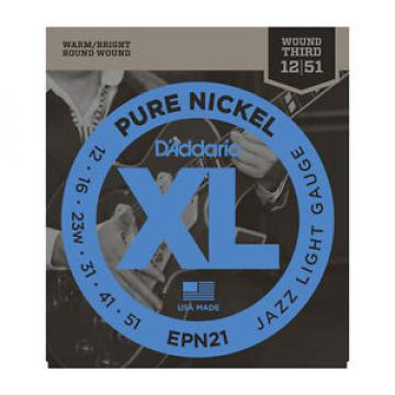 D'Addario EPN21 XL Pure Nickel Round Wound Electric Guitar Strings 12-51 jazz