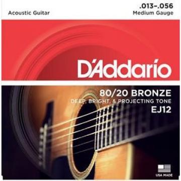 6 Sets D'Addario EJ12  Acoustic Guitar Strings 80/20 Bronze Medium 13-56