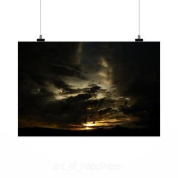 Stunning Poster Wall Art Decor Eventide Sunset Sky Sol Clouds 36x24 Inches
