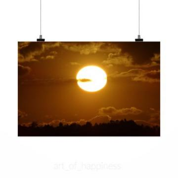 Stunning Poster Wall Art Decor Sunset Eventide Sol Horizon Clouds 36x24 Inches