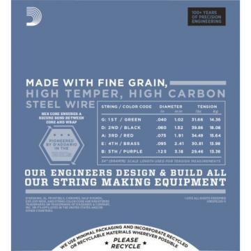 2 Sets D'Addario Pro Steels EPS220-5 Super Light Gauge 5 String Bass Strings