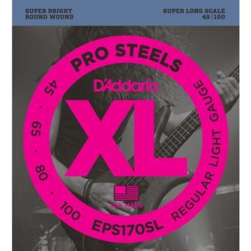 D'Addario EPS170SL ProSteels Bass Guitar Strings, Light, 45-100, Super Long Scal
