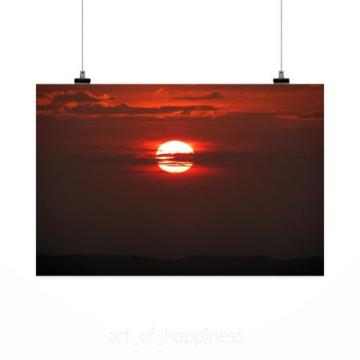 Stunning Poster Wall Art Decor Sunset Sol Eventide Sky Clouds 36x24 Inches