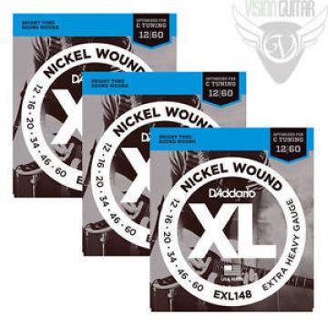 3 Sets! D'Addario EXL148 Nickel Wound, Extra-Heavy, 12-60