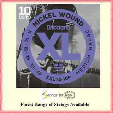 D'Addario EXL115-10P 10 Sets Nickel Wound Electric Guitar Strings, 11 - 49