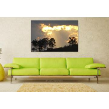 Stunning Poster Wall Art Decor Eventide Sunset Trees Flames 36x24 Inches