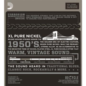 3 Sets D'Addario EPN115 Pure Nickel Blues/Jazz Rock 11-48 Elec Guitar Strings