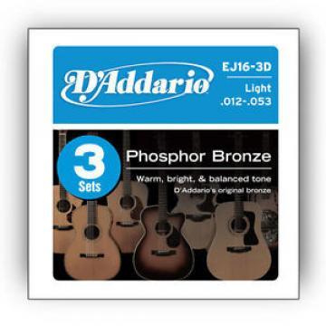 D'Addario Acoustic Guitar Strings Gauge 12-53 (3 Full Sets) EJ16-3D