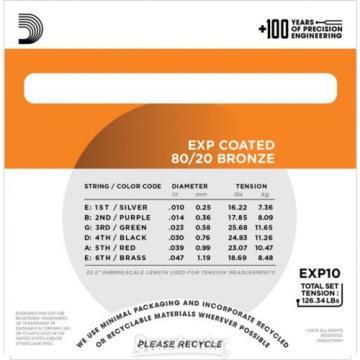 D'Addario EXP10 Coated 80/20 Bronze Extra Light Ac