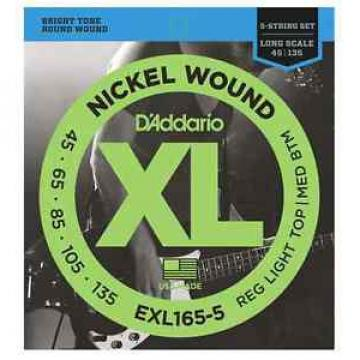 D'Addario EXL165-5 Nickel Wound Bass Strings. 5 String Set. Gauge: 45-135