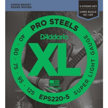 D'Addario Pro Steels EPS220-5 Super Light Gauge 5 String Electric Bass Strings
